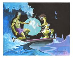 FRANKENSTEIN MONSTER SURFERS Signed Art Print by Mike Von Hoffman
