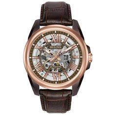 Bulova Men's Leather Automatic Skeleton Watch ($450) ❤ liked on Polyvore featuring men's fashion, men's jewelry, men's watches, brown, mens skeleton watches, mens brown leather watches, blue dial mens watches, mens watches and bulova mens watches