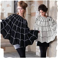 Spider Web Poncho (link no longer works BUT how hard is a poncho people?)  Perfect for walking the kids around the neighborhood while they trick-or-treat