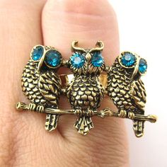 One owl on a ring is good but three owls is simply amazing.