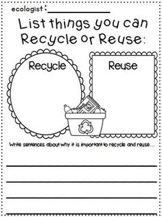 "Earth Day ""Research"" Writing Unit for 1st-2nd grades!  Includes a ""fill in the blank""  booklet and many writing printables!"