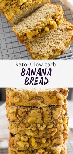 This is the most moist keto banana bread you'll ever try! It's completely friendly, topped with walnuts full of healthy fats. It's so delicious and easy to make this will be your go to keto recipe when craving something sweet. And it's only 3g net carbs per serving! When you have been dying for a keto bread recipe, each loaf is packed with flavor of banana without tasting artificial! Almond Flour Desserts, Coconut Flour Recipes, Sugar Free Desserts, Low Carb Desserts, Low Carb Recipes, Baking Recipes, Dessert Recipes, Keto Banana Bread, Banana Walnut Bread