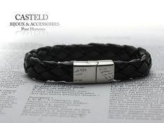 Bracelet cuir noir pour homme, caractère et intemporel. #bracelet #homme #tendance