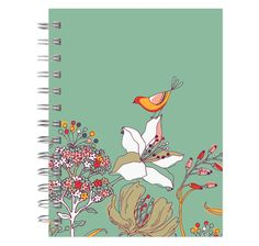 journal notebook lined spiral colourful bird 6x9 by posypaper, $11.99-200 pages