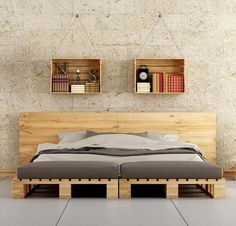 This pallet bed frame is really something unique and modern in its style and shape --- 45 Easiest DIY Projects with Wood Pallets   101 Pallet Ideas