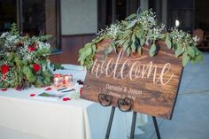 Wood welcome wedding sign. Danielle and Jason's Outdoor Fall Wedding in Crested Butte, Colorado