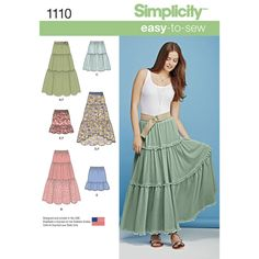 this easy-to-sew skirt for misses' can feature three tiers with yarn pom trim, lace overlay, or high low hemline, or two tiers in knee length or mini. pattern also includes belt. simplicity sewing pattern.