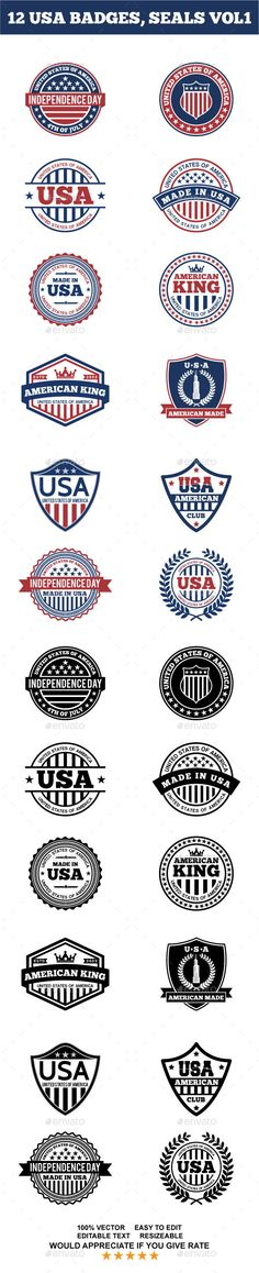 12 USA BADGES, SEALS VOL1  - EPS Template • Only available here ➝ http://graphicriver.net/item/12-usa-badges-seals-vol1/14257497?ref=pxcr