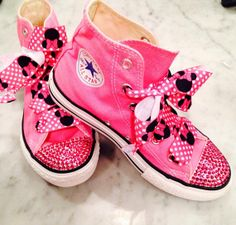 Items similar to Minnie Hi~Tops customized converse size youths 1 and more  with Swarovski Crystals on Etsy 722630fa83b