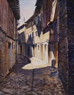 Calle de La Alberca (Salamanca). Acuarela sobre papel. Manuel Gandullo Nievas
