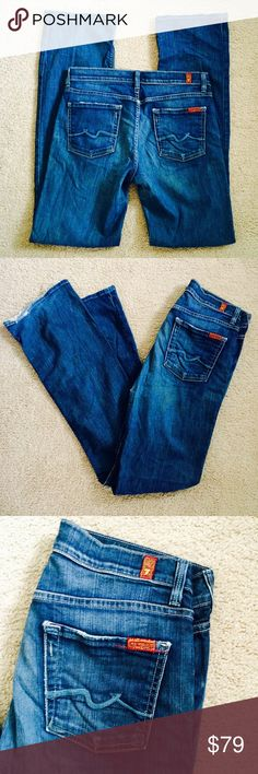 ❗️7 For All Mankind High Waist Bootcut MSRP $189 ❗️7 For All Mankind High Waist Bootcut Denim. Retails $189. In great condition some wear on bottom hems as shown. Size 30. Feel free to make an offer! I'm giving to the first reasonable offer I receive & give great bundle deals! Spring cleanout sale--all must go! ;-) 7 For All Mankind Jeans