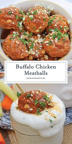 Buffalo Chicken Meatballs are a quick and easy appetizer that will spice up any party! Simmered in spicy wing sauce and blue cheese these will be a winner! Quick And Easy Appetizers, Yummy Appetizers, Quick Meals, Appetizer Recipes, Drink Recipes, Dinner Recipes, Low Carb Chicken Recipes, Turkey Recipes, Party Food Meatballs