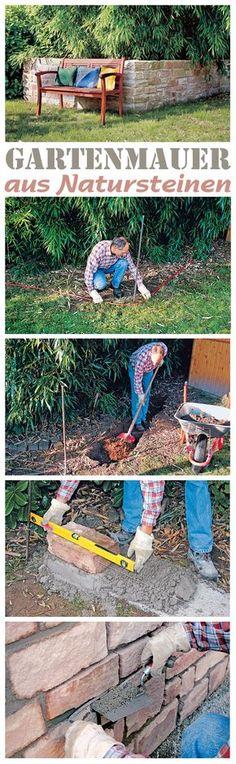 Eine Gartenmauer aus Natursteinen kann man selbst bauen. Dafür muss man kein Profi sein, doch beim Bau gibt es ein paar Dinge zu beachten, damit die Mauer nicht schon nach kurzer Zeit lose wird. Wir zeigen Schritt für Schritt, wie man das Fundament anlegt und die Mauer für den Garten baut.