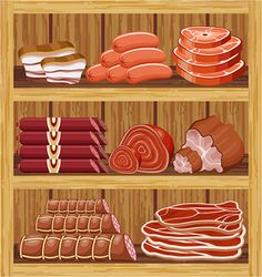 Illustration of Shelfs with meat products. vector vector art, clipart and stock vectors. Paper Doll House, Paper Dolls, Artsy Photos, Cardboard Paper, Food Backgrounds, Play Food, Vector Design, Handmade Crafts, Food Art