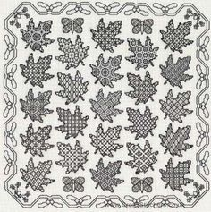 Maple Leaf Sampler Blackwork Kit - Blackwork is a reversible embroidery style that was popular for use on collars and cuffs during Elizabethan times.