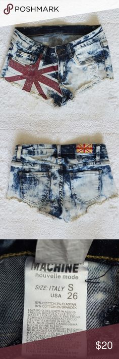 "Distressed Union Jack Denim Shorts Destroyed denim shorts that feature the British flag. These are so cute and in great condition, just too small for me. They are marked 26. I normally wear a 26 but they're snug on me. Might be better on a 24"" or 25"" waist unless you like them tight ;-) Shorts Jean Shorts"