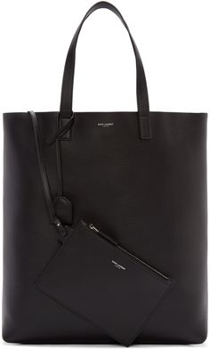 Saint Laurent: Black Leather Tote Bag | SSENSE