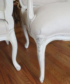 Sale Pending - shipping amount is for Kate. This is a set of chairs that is totally transformed. The extensive woodwork was professionally refinished (lacquer with glazing) in a moderately distressed cream/dark cream. The construction is top-notch and the chairs sit very comfortably - these would work well at a table, at a desk, or welcoming guests in the foyer. The look can be contemporary and also invoke various eclectic settings such as French Country or Scandinavian.    Check out all of…