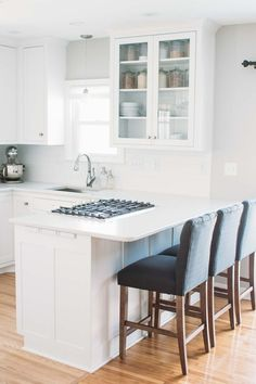 KITCHEN REMODEL: updating from a dark, small, enclosed space to an open, light, white and grey kitchen.
