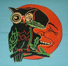 vintage Halloween WINKING OWL TICKLING MOON WITH LEAF embossed decoration cutout