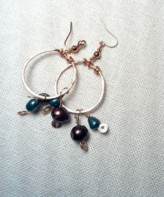 Dyed Fresh Water Pearls on Copper Earrings by Justatishdesigns