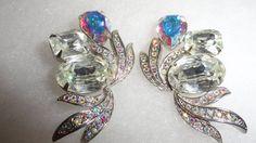 Kirks Folly Signed Vintage Rhinestone & Aurora Borealis Crystal Clip On Earrings by TimsSecretTreasures on Etsy