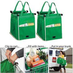 Grab Bag 2 unids lavable ecológico reutilizable gran capacidad plegable carretilla del supermercado bolsas de compras que Clips a su cesta en   de   en AliExpress.com | Alibaba Group