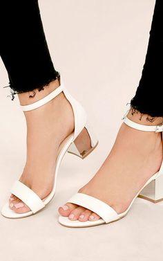 Tilda White Ankle Strap Heels via @bestchicfashion