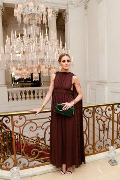 How to Rock a Statement Gown - Olivia Palermo skipped earrings and a necklace for her dinner for Lina Hamed of Analeena, accessorizing with simple stacked bracelets and cuffs