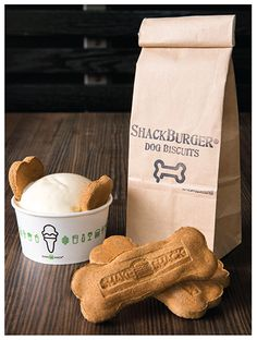 Pooch-ini®  ShackBurger dog biscuits, peanut butter sauce and vanilla custard. Includes dairy, sugar and nut products. Not intended for small dogs... just let 'em have a lick or two!