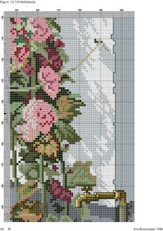 Hollyhocks 7 of 12 Counted Cross Stitch Patterns, Cross Stitch Designs, Cross Stitch Embroidery, Cross Stitch House, Cross Stitch Landscape, Hollyhock, Ribbon Work, Filet Crochet, Vintage World Maps