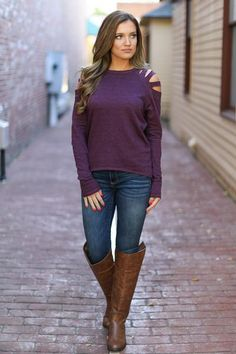 ELAN All About You Cold Shoulder Sweater - Berry