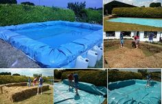 DIY a temporary straw bale & tarp Swimming Pool for the kiddies. Keep those little sandwich-grabbers cool & busy, laughing & out of your hair through the hottest part of the day.