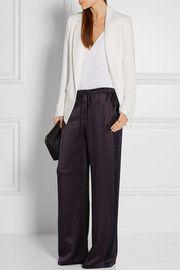 Hammered silk-satin wide-leg pants