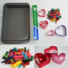 shaped crayons made with cookie cutters and crayons pieces and parts