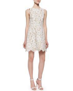 Alice + Olivia Leann Sleeveless Lace Dress, Cream