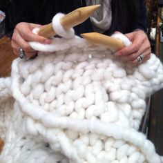 Giant knitting - my next challenge I recently saw this with alpaca roving and loved it!