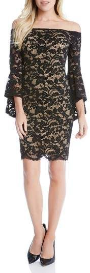 Karen Kane Samantha Lace Off the Shoulder Sheath Dress