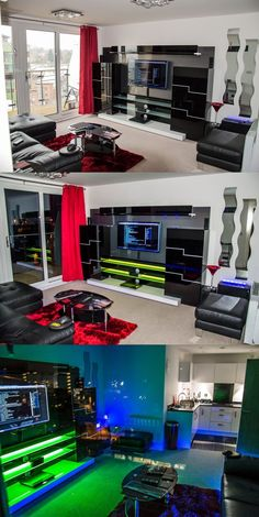 Top DIY entertainment center design ideas you must know! Top DIY Entertainment Center Design Ideas You Need To Know! Game Room Lighting, Bedroom Lighting, Lighting Ideas, Gaming Room Setup, Gaming Rooms, Gaming Desk, Video Game Rooms, Video Games, Game Room Design