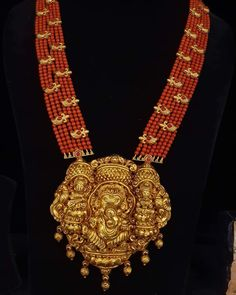 Beaded Jewelry Designs, Gold Earrings Designs, Gold Jewellery Design, Necklace Designs, Fancy Jewellery, Beading Jewelry, Gold Mangalsutra Designs, Indian Wedding Jewelry, Coral Jewelry