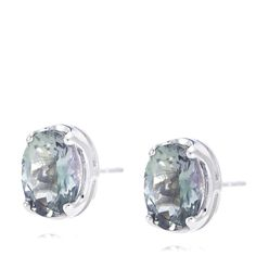 668751 1.3ct Green Tanzanite Oval Stud Earrings 9ct White Gold QVC PRICE: £164.01 +  P&P: £4.95 or 3 Easy Pays of £54.67 +P&P A pair of polished white gold earrings set with green tanzanite stones. These striking earrings provide a refreshing pop of green to any look and work particularly well when worn with white and cream outfits.