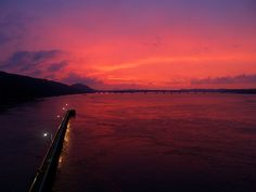 Sunset from the Big Dam Bridge, in Little Rock, Arkansas.