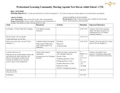 Sample Plc Meeting Agenda  Plcs    Instructional