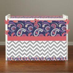 Crib bedding Baby Bedding Crib Set Mini Crib Cot Set- Paisley Please Purple Coral and Gray Chevron Dots on Etsy, $275.00