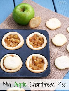 Mini-Apple-Shortbread-Pies blend ripe apples of fall with a buttery shortbread cookie crust for a sweet treat that fits in the palm of your hand.