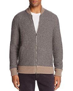 The Men's Store at Bloomingdale's Herringbone Knit Bomber Sweater - 100% Exclusive