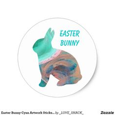 Easter Bunny Cyan Artwork Stickers by Janz