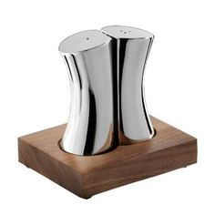 Robert Welch Drift Bright Salt and Pepper Set with Walnut Base. Each Robert Welch Drift salt and pepper shaker set is pressed from stainless Salt And Pepper Holder, Salt And Pepper Set, Robert Welch, Wedding Gift List, Kitchenware, Tableware, Salt Pepper Shakers, Walnut Wood, A Table