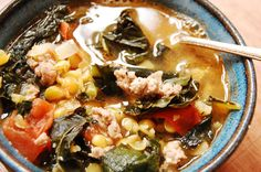 Recipe: Yellow Split Pea, Kale, and Italian Sausage Soup #fall #warm #soup #cozymeals