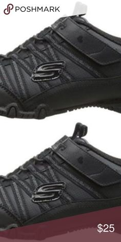SKECHERS Bikers School Daze Black Sneakers 12 NEW NEW without box.  Please research reviews for fit or know your size in this style.  Go-everywhere style and comfort come in the SKECHERS Bikers - School Daze shoe. Smooth leather and synthetic upper in a bungee laced uniform-friendly casual sneaker with stitching and overlay accents. Skechers Shoes Sneakers